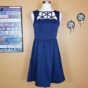 Modcloth Doe &Rae fit & flare CUT OUT navy strappy